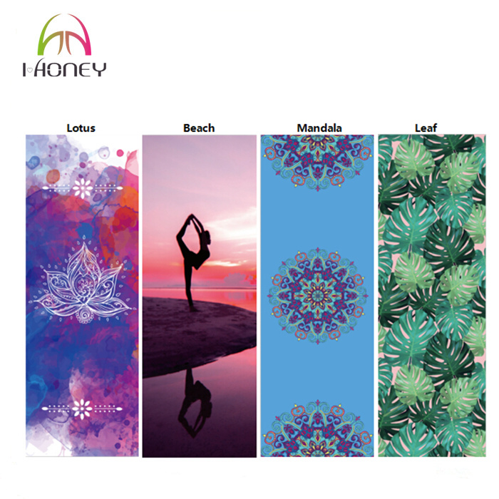 Custom Printed Microfiber Yoga Mat Eco Natural Rubber Foldable Machine Washable