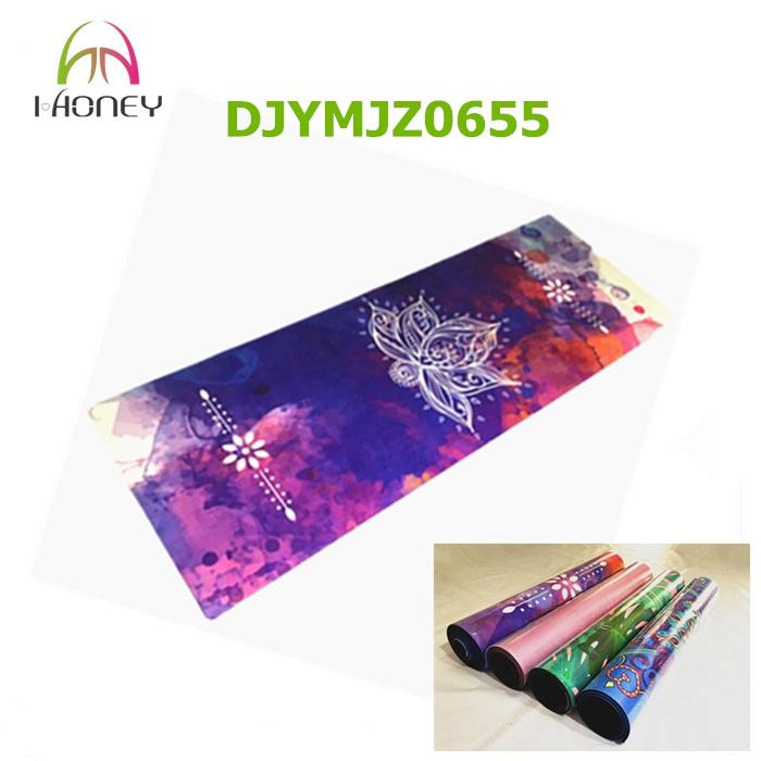 New Design Natural Rubber Exquisite Pattern Microfiber Sude Yoga Mat