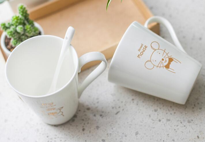 Custom-Made 250ml Ceramic Couple Mug for Coffee with Animal Design