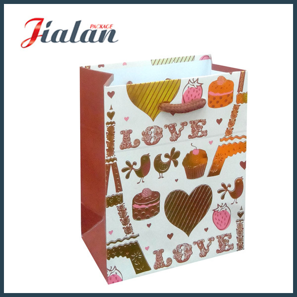 Valentine`S Day Gold Hot Stamping Logo Printed Paper Gift Bag