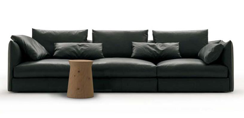 European Modern Classics Fabric Sofa Black Leather Sofa (D-74-D+B+D)