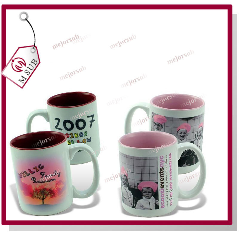 15oz Plain White Sublimation Inner Color Mug with Photo Printing