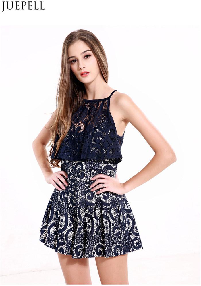 Summer New European Lace Stitching Hollow Collar Harness Piece Pants Women High Waist Wide Leg Pants