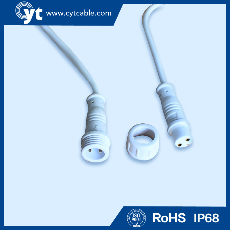 M 18 White Waterproof Cable with Male & Female 2 Pin Connector