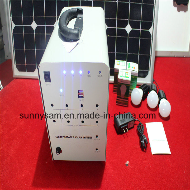 100W Solar Power Lighting System for Home Emergency Usage