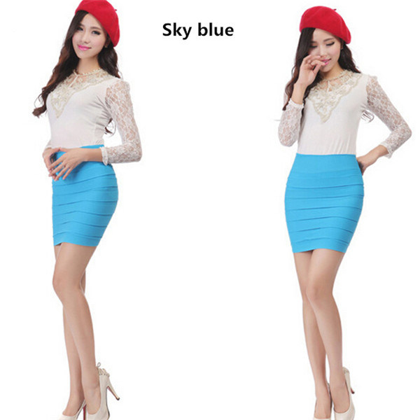 Women Candy Colors High-Waisted Slim Fitting Tight Pencil Skirt (50125)