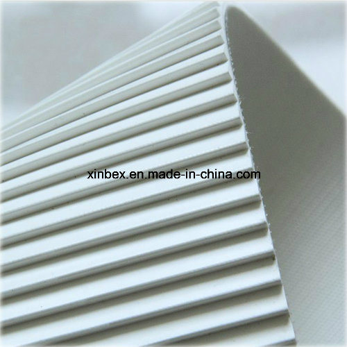 PVC White/Green Longitudinal Rib/Saw Tooth High Friction Conveyor Belt