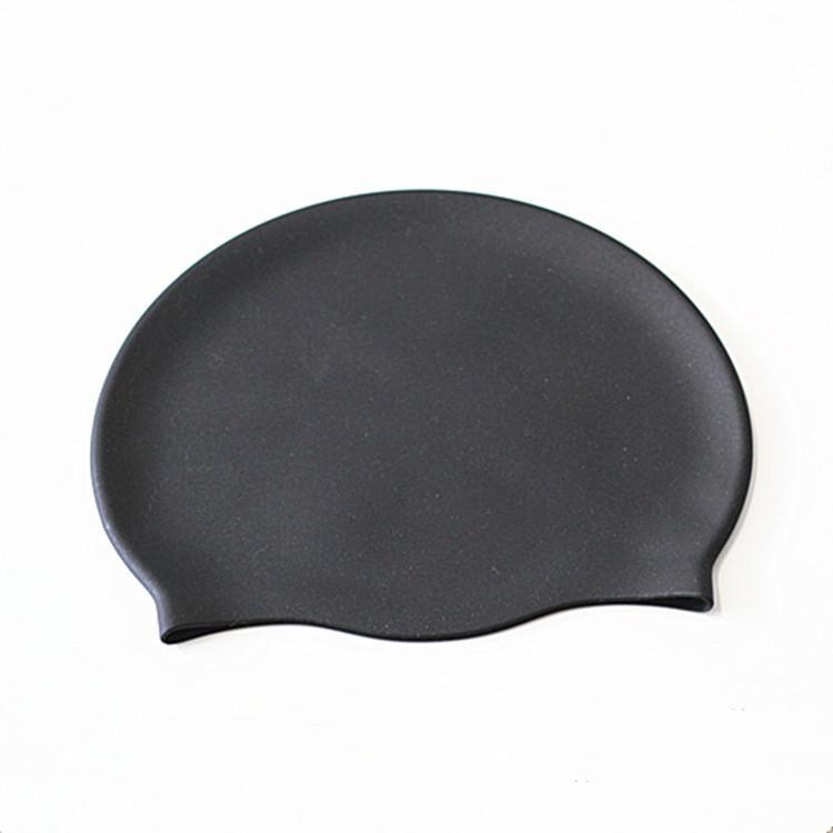 Good Quality Black Silicone Swimming Cap with Bright Printing