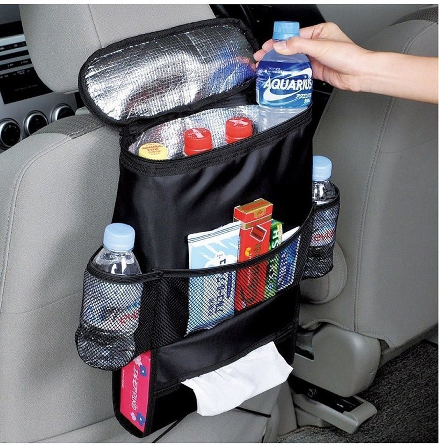 Heat-Preservation Car Seat Back Organizer, Multi-Pocket Travel Storage Bag