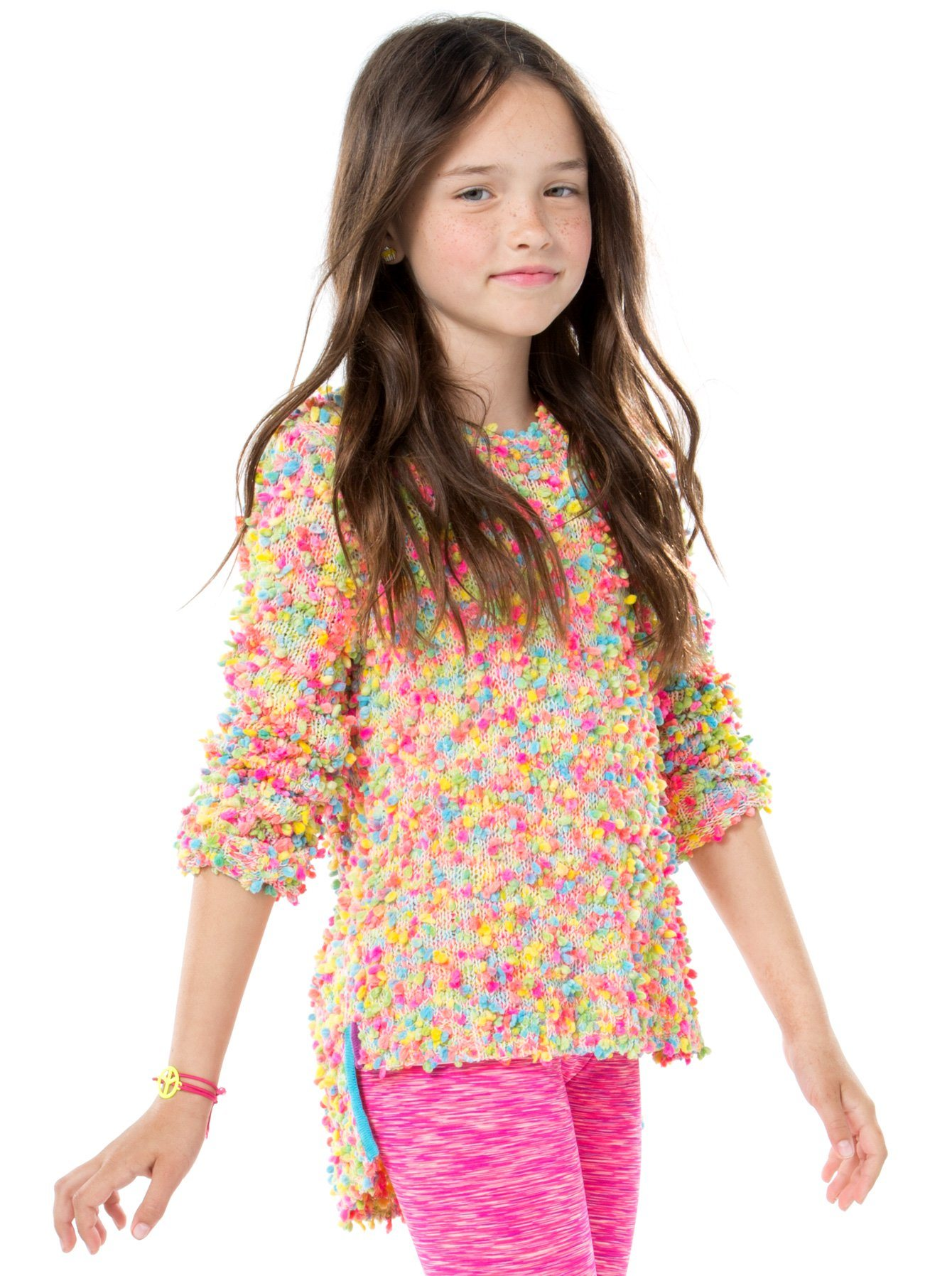 Girls Colourful Pompom Yarn Sweater