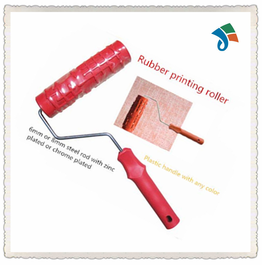 Plastic Handle Pattern Rubber Roller Brush for Decorating The Wall