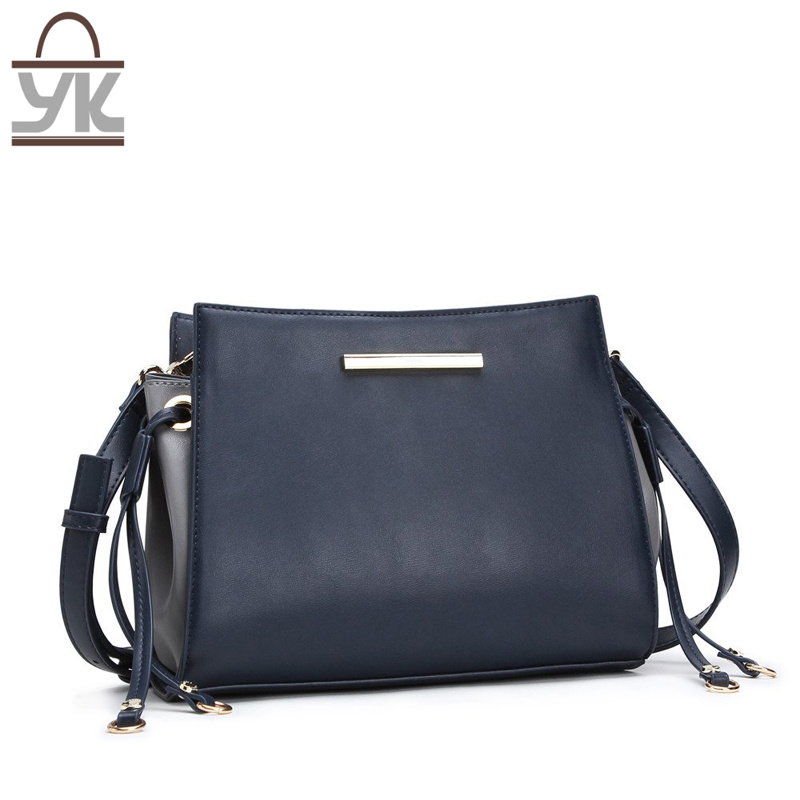 Contrast Color Leisure PU Leather Women Designer Handbags