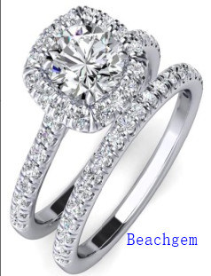 Jewellery-925 Silver Cubic Zirconia Engagement Wedding Ring Set (R90907)