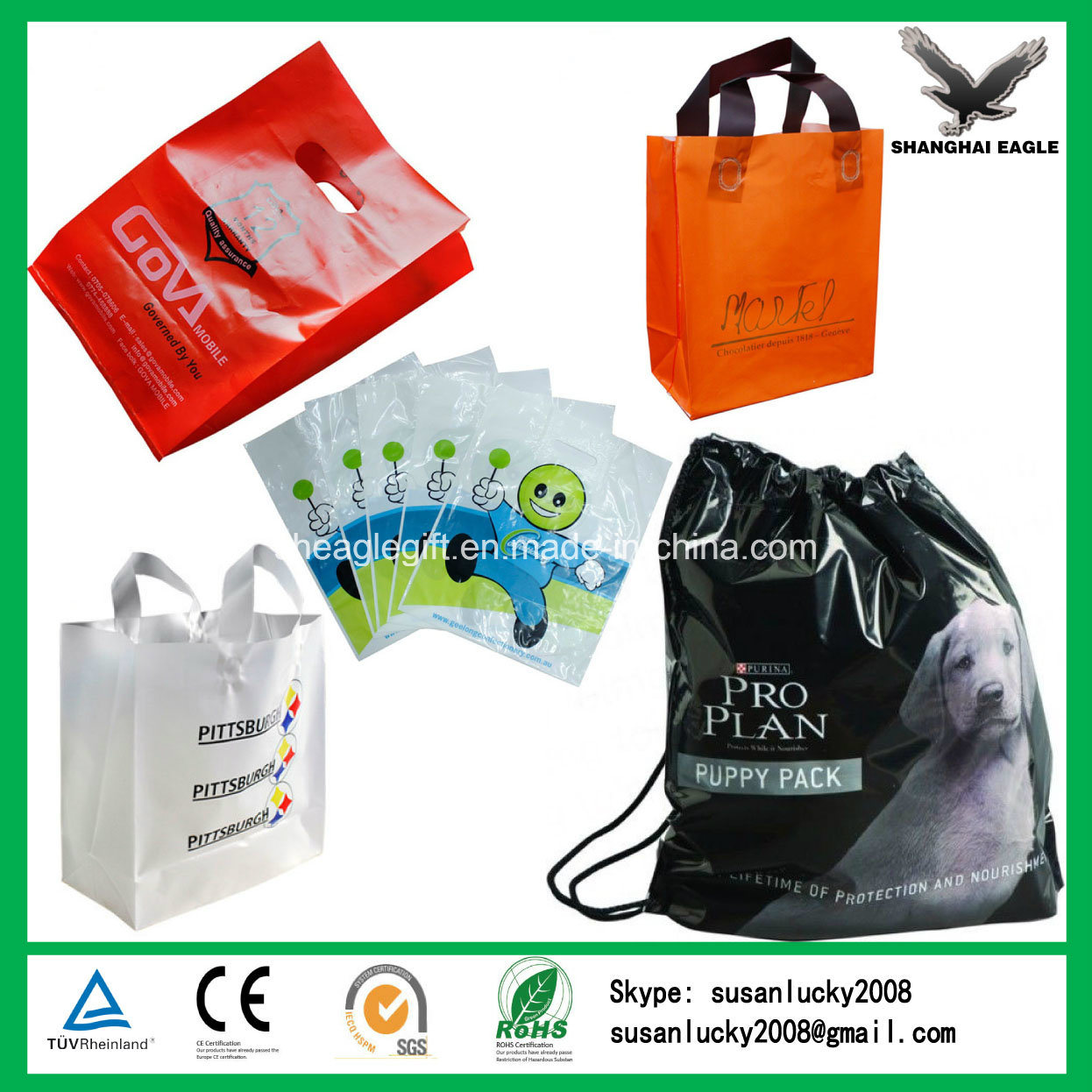 Custom HDPE/LDPE Printed Plastic Bag Manufacture