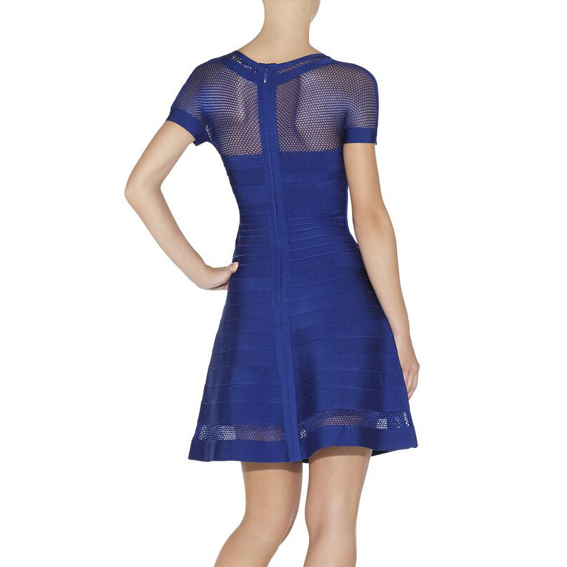 Short Sleeve Mesh Vail A-Line Flare Real Silk Ladies Dress