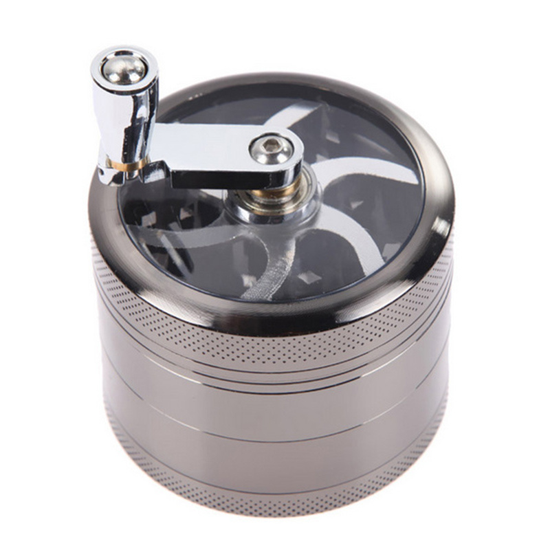 Bontek 5-Layer Metal Hand Smoke Detector Grinder Herb with Handle