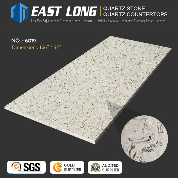 High Grade White Marble Vein Quartz Stone Slabs for Vanity Tops/Engineered with Polished Surface