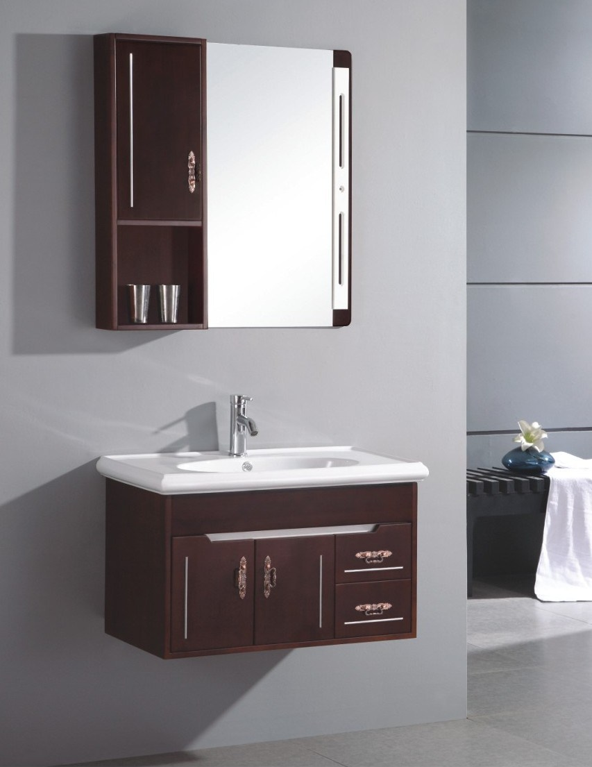 China Small Wall Mounted Single Sink Wooden Bathroom Vanity Cabinet S6096 China Bathroom