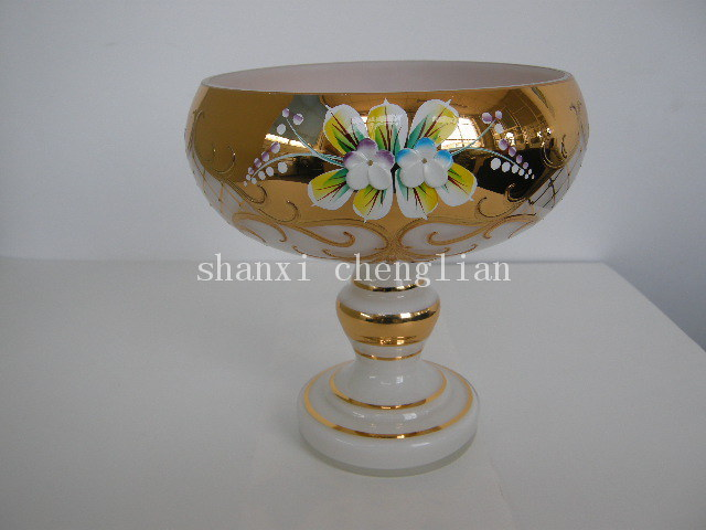 Luxurious Handpainted Glass Plate (HYLP579)