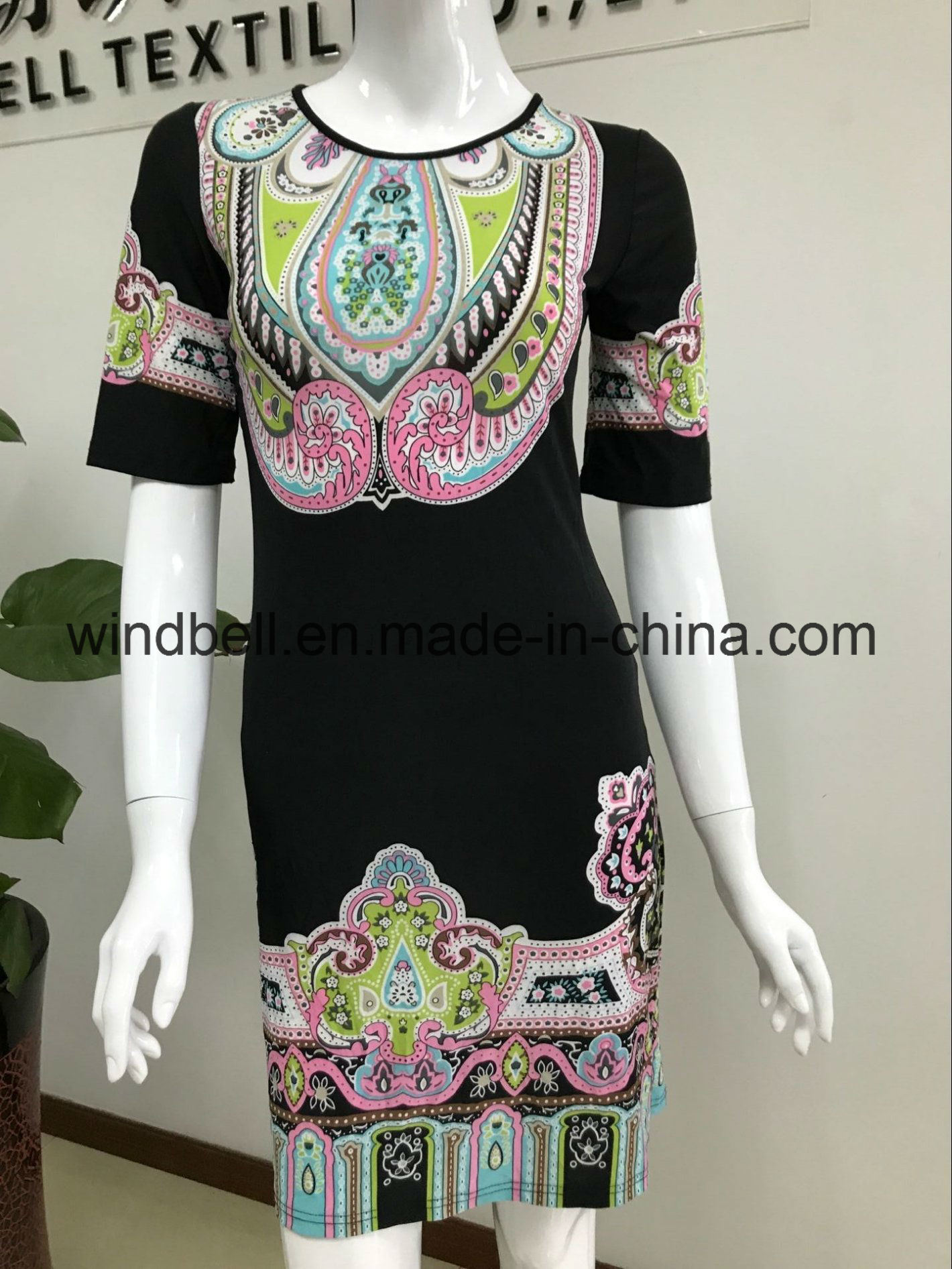 Womens Black Dress with Bohemia Digital Print