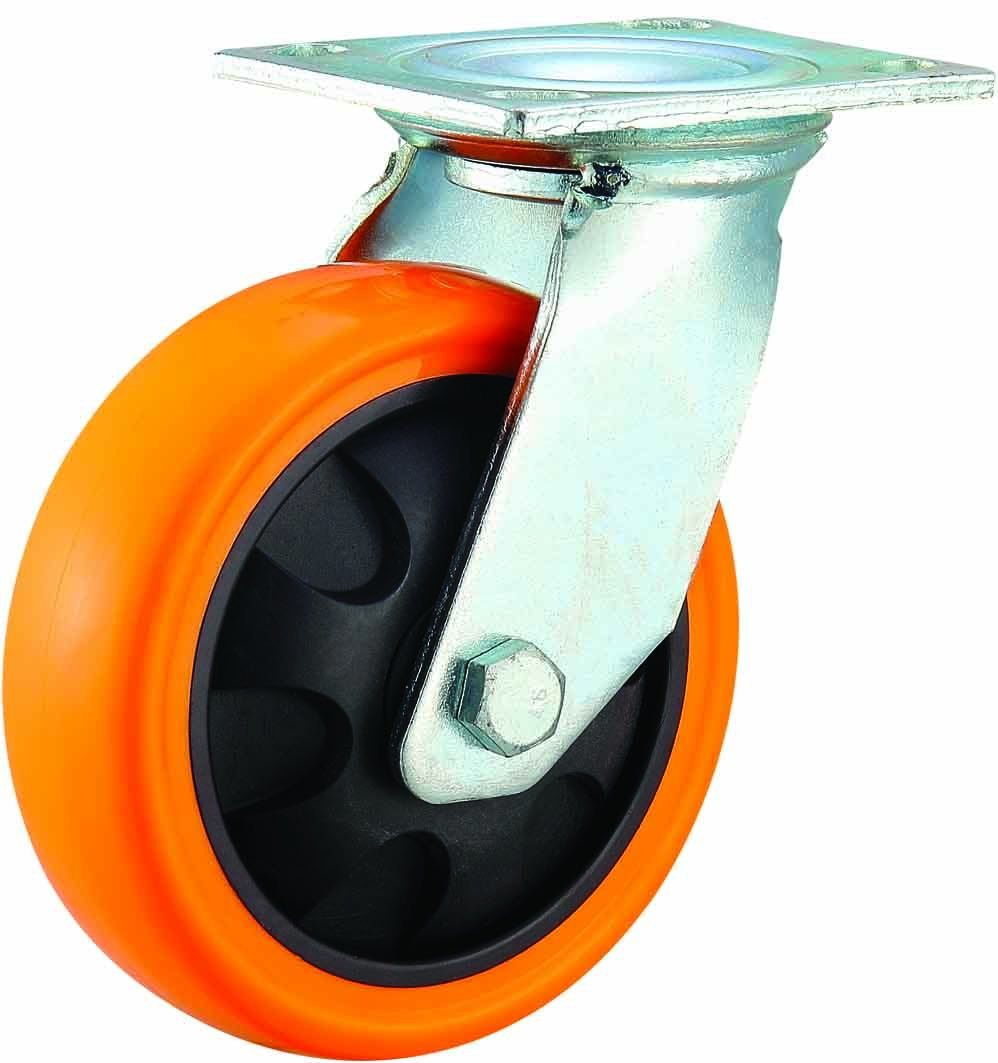 4/5/6/8 Inch Heavy Duty Orange PU Castor Wheel Industrial PU Caster with Brake