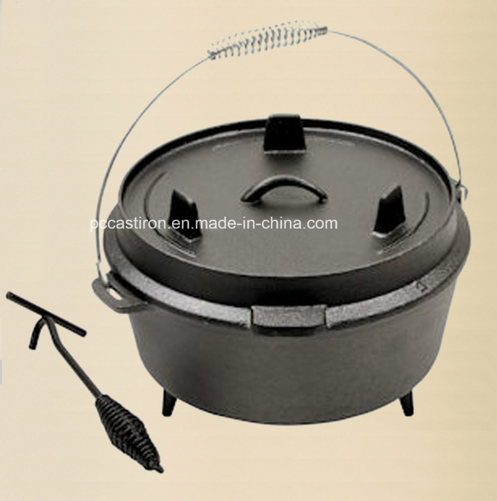 Preseasoned Cast Iron Camping BBQ Skillet Dia 30cm