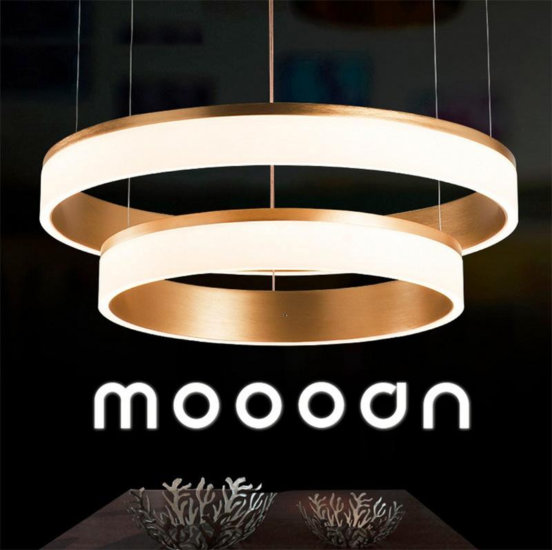 Modern Luxury Gold Aluminum Circle LED Pendant Selfie Ring Light for Living Room
