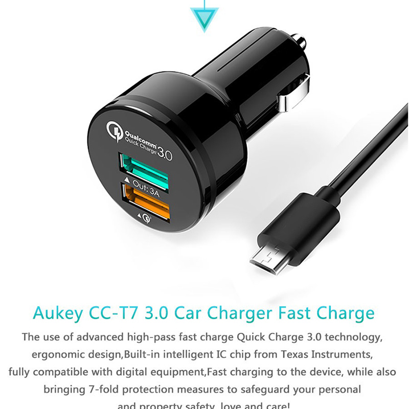 Aukey Car Charger Dual USB Qualcomm Quick Charge 3.0 Fast Car-Charger Support 5V/9V/12V for Xiaomi LG Meizu Samsung HTC LG