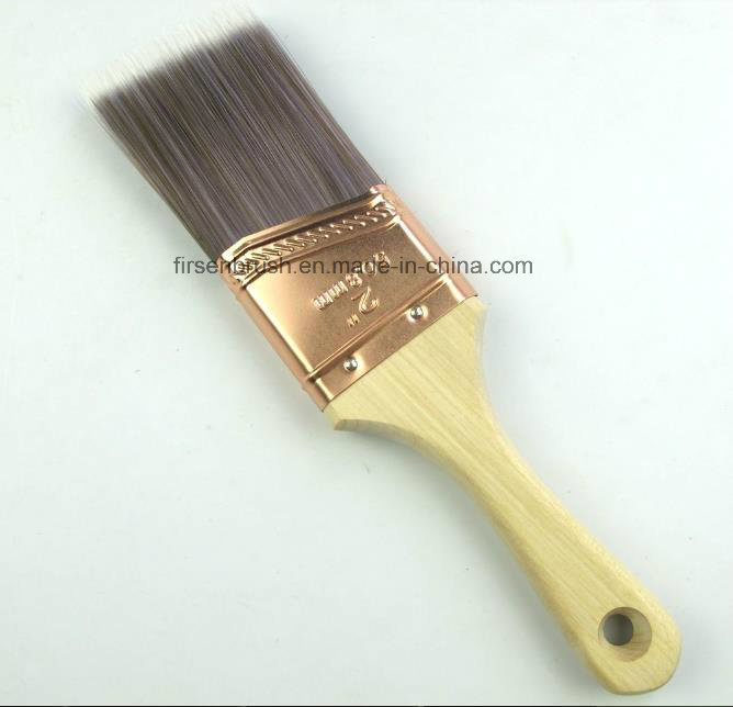 Professional High Grade Tapered Filament Short Cut Angle Paint Brush with Wooden Handle