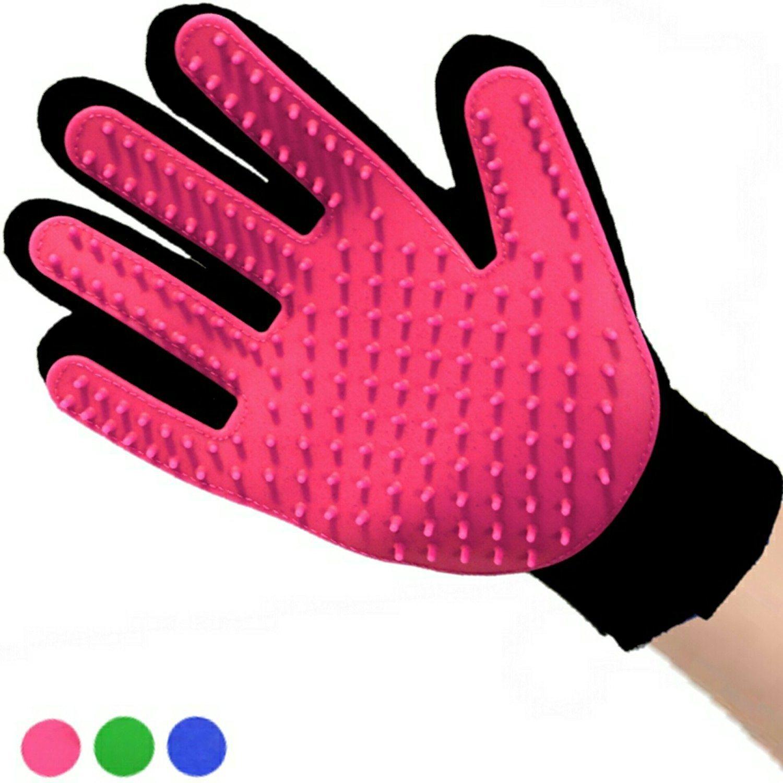 True Touch Deshedding Glove for Gentle Efficient Pet Dog Cat Grooming Glove Brush Mitt Shedding Glove Tool Pet Hair Remover Pet Massage Glove Bathing Brush COM