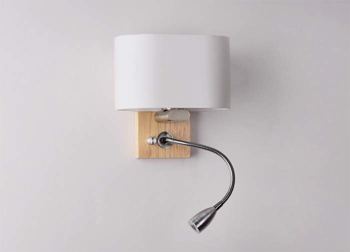 Very Useful Hotel Bedside Modern LED Sconces Wall Lamp Light with Wood Base for Reading