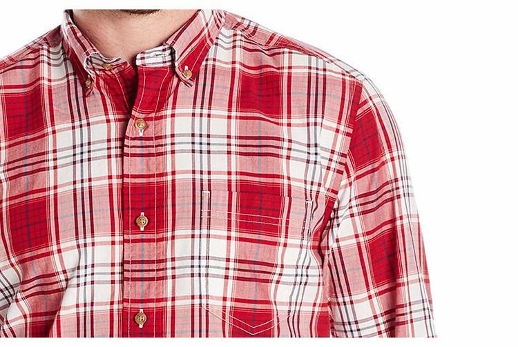 Men′s Classic Fit Cotton Long Sleeve Red Plaid Shirt