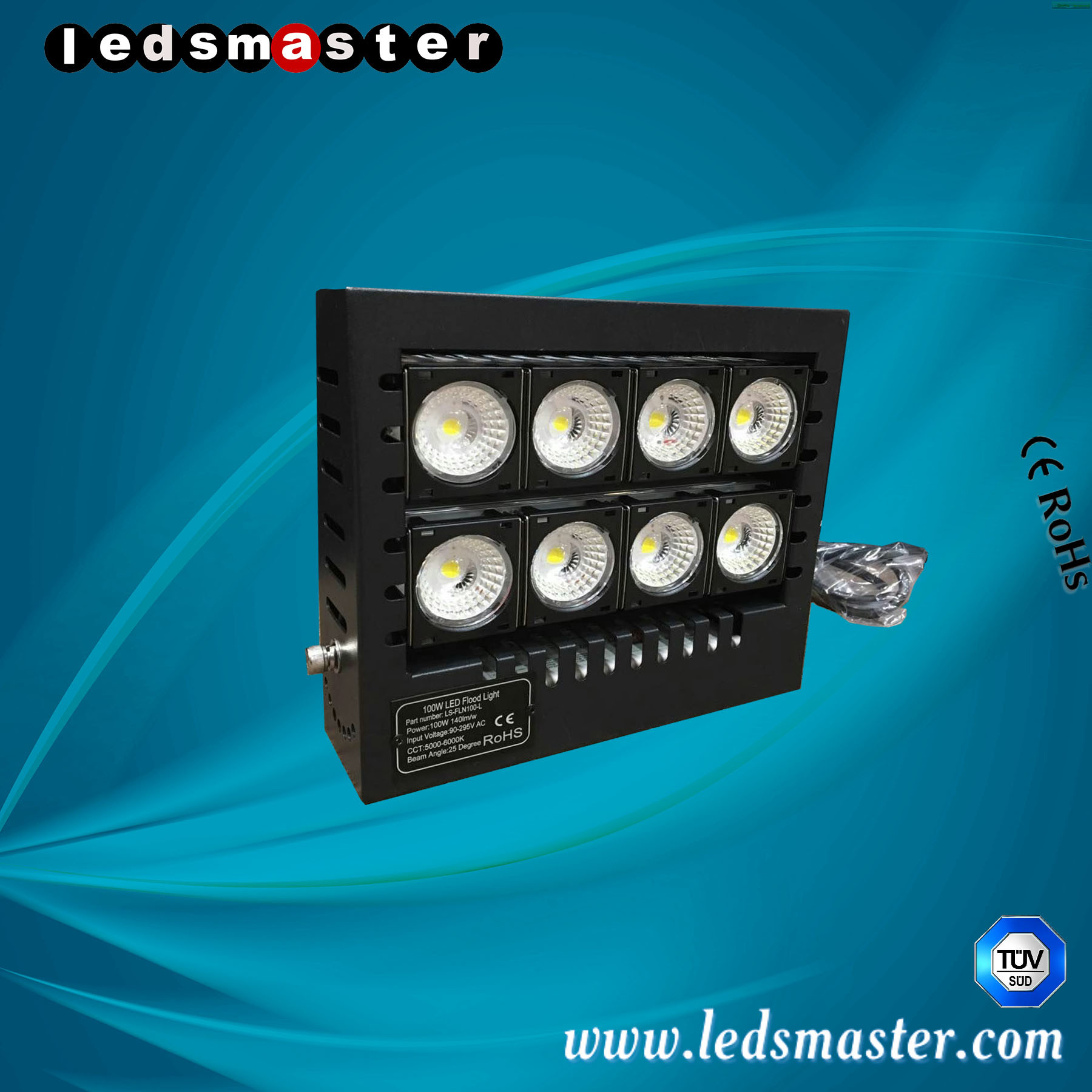 Ledsmaster 100W IP66 Energy Saving LED Flood Lights with 5 Years Warranty