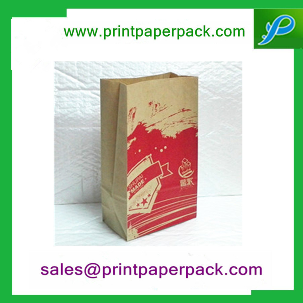 Color Printed Kraft Flat Block Bottom Paper Bag Party Lunch Gift Bags