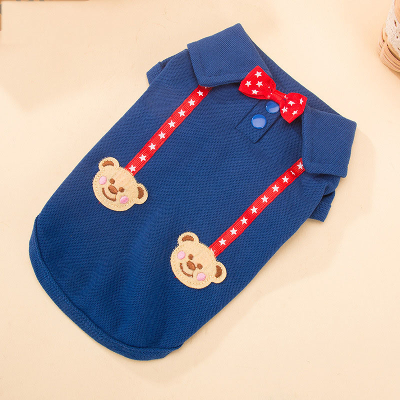 Classic Cute Bowtie Bear Dog Polo Shirt with Suspenders