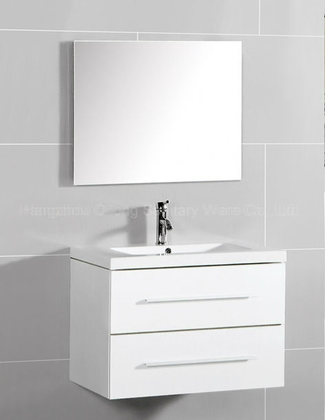 Different Colors MDF Wall-Mounted Cabinet in Bathroom with Ceramic Basin