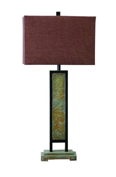 Slate & Metal Table Lamp for Indoor and Outdoor