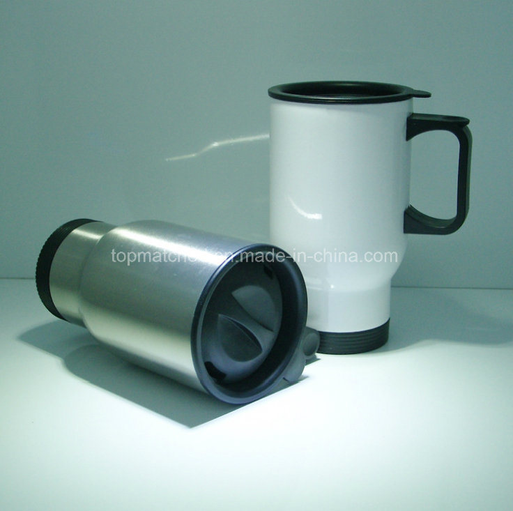 Stainless Steel Sublimation Coated Travel Coffee Mug (white)