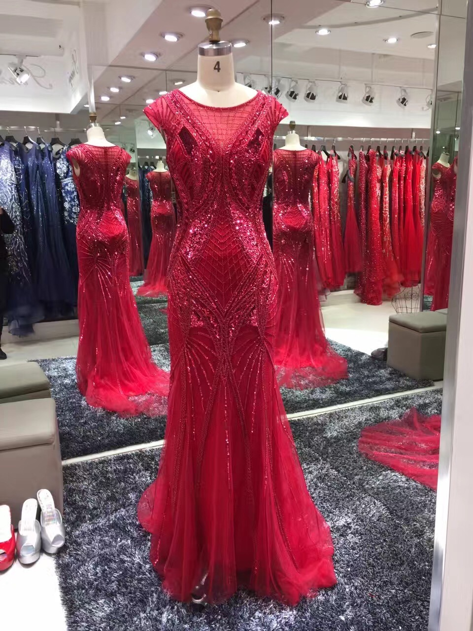 Red Evening Dress, Party Gown, Prom Dress, Fashion Beading Dress