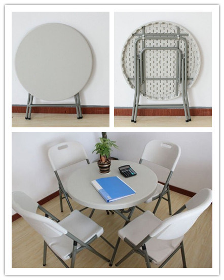 Blow-Mold Plastic Folding Home Restaurant Dining Round Table