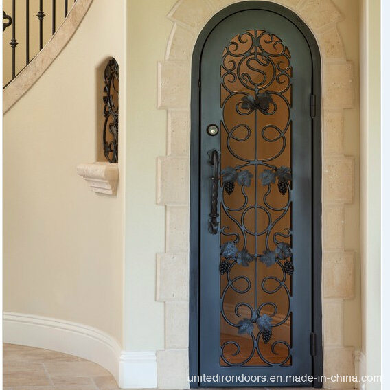 Interior Round Top Wrought Iron Wine Cellar Door (UID-S004)