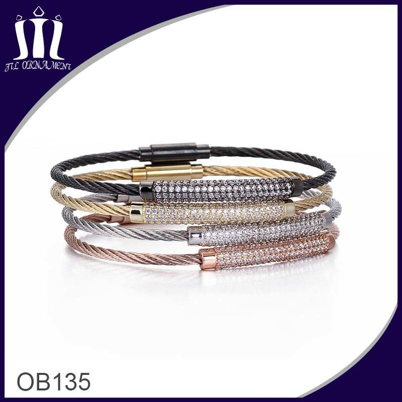 Vacuum Plated Color Stainless Wire Cable Bracelet