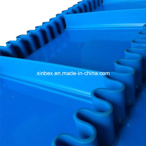 FDA Blue PU Cleats/V-Guides Conveyor Belt for Food Processing