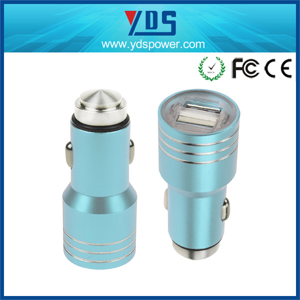 Promotional Universal 5V 2.1A Stainless Steel Mini Dual USB Car Charger