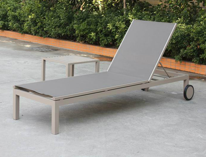 Modern Euro Patio Aluminum Chaise Lounger Chairs Sling Back Adjustable Outdoor Garden Furniture