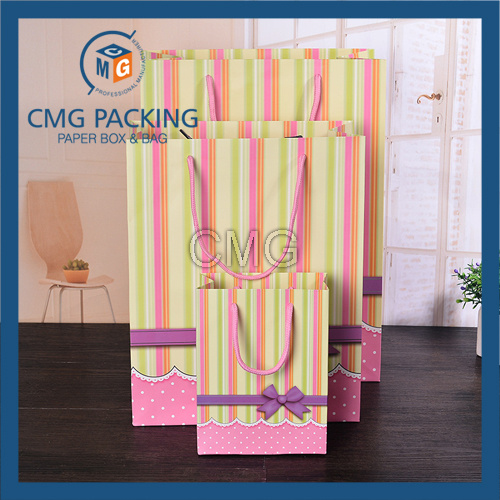 Stripes Printed Gift Packing Sweet Paper Bag with PP Rope (CMG-MAY-059)