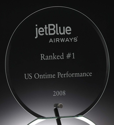 Jade and Clear Crystal Glass Awards with Metal Stands Hotsale