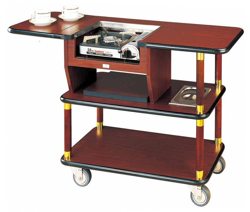 Wooden Coffee Flambe Trolley with One Burner (C-60)