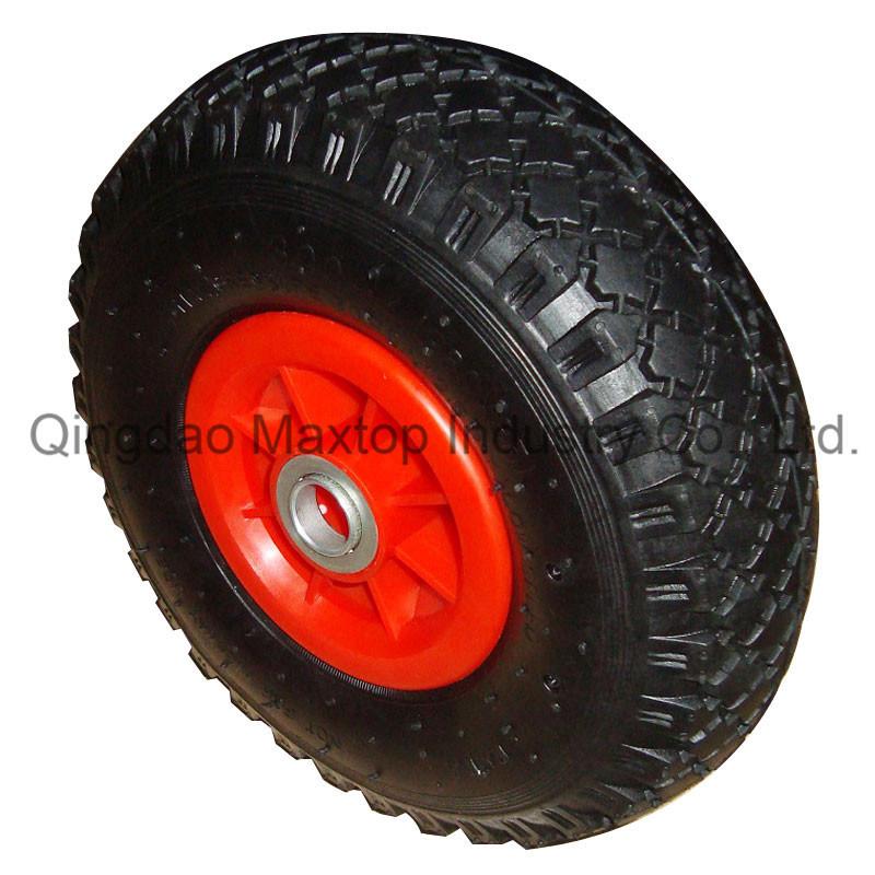Cross Pattern Poland Market Pneumatic Rubber Wheel with Axle