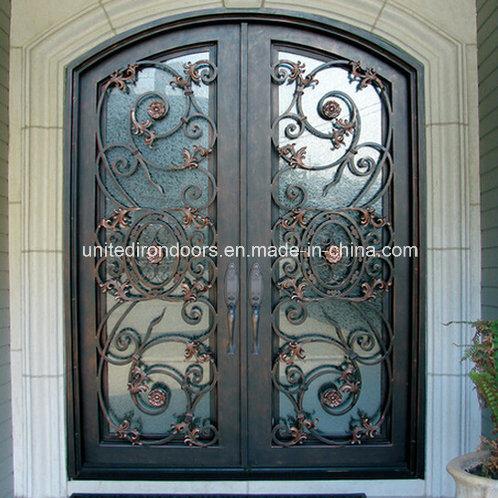 Factory Direct Eyebrow Arch Top Iron Entry Door (UID-D008)